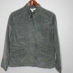 L.L.Bean green corduroy buttoned utility jacket M